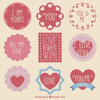 Genial colección de insignias de amor
