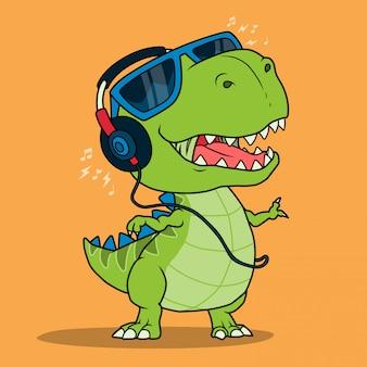 Genial dinosaurio escuchando música con auriculares.