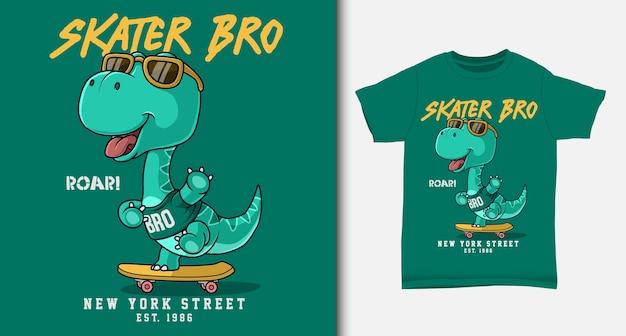 Genial dinosaurio jugando patineta. con diseño de camiseta.