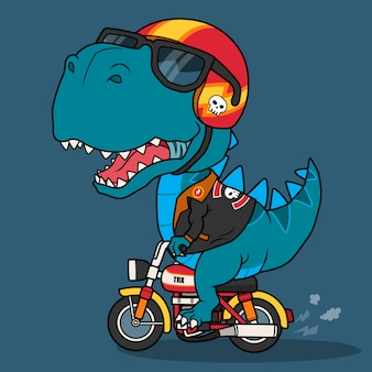 Genial dinosaurio en motocicleta.