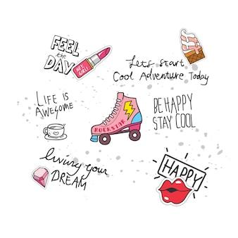 Genial diseño de camiseta en estilo doodle con parches y citas escritas a mano