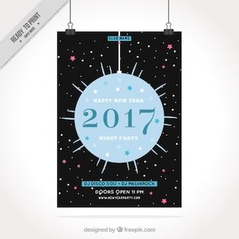 Genial folleto de año nuevo con bola azul colgando