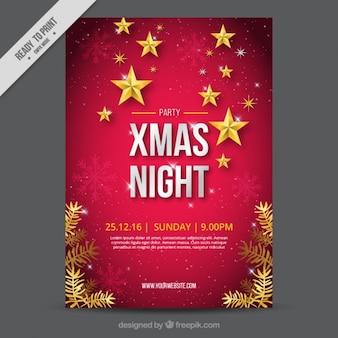 Genial folleto de navidad con copos de nieve y estrellas