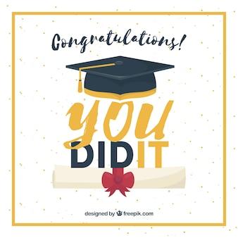 Genial fondo de graduación con diploma, birette y marco dorado