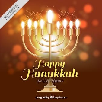 Genial fondo de hanukkah con candelabro realista