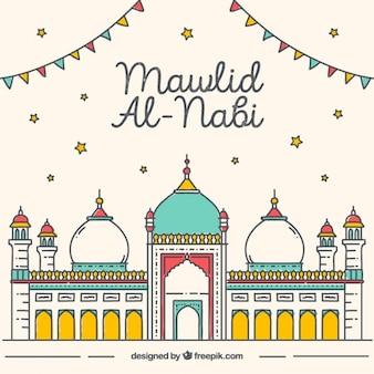 Genial fondo de mawlid con mezquita colorida