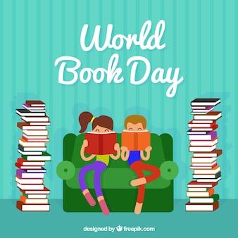 Genial fondo de niños leyendo junto a columnas de libros