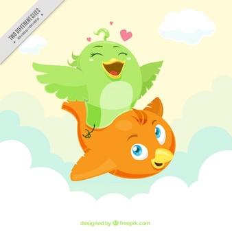 Genial fondo de pájaros sonrientes volando