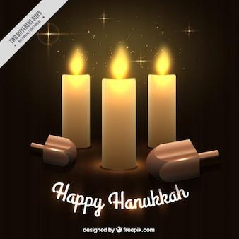 Genial fondo con velas y peonzas para hanukkah