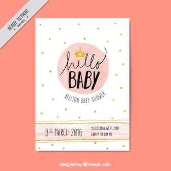 Genial invitación de bienvenida del bebé con detalles dorados