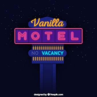 Genial letrero de luces de neón para un motel
