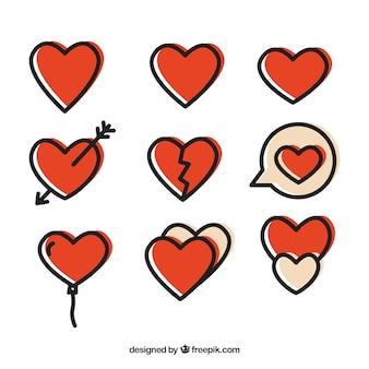 Genial paquete de nueve corazones