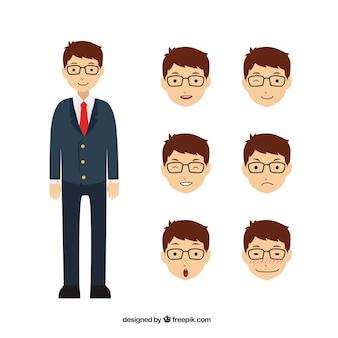 Genial personaje de negocios con seis expresiones faciales diferentes