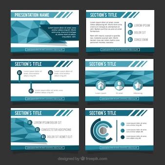 Genial presentación de negocios en tonos azules