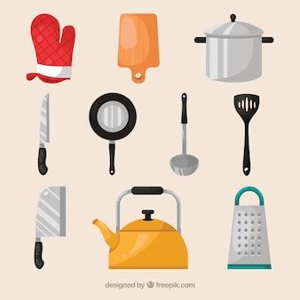 Genial selección de elementos de cocinero planos