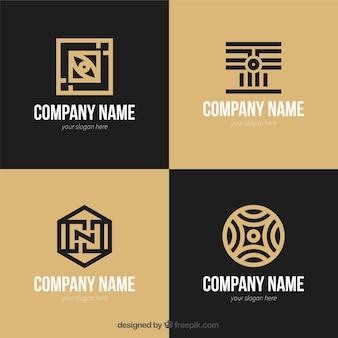 Genial set de logos planos con formas geométricas
