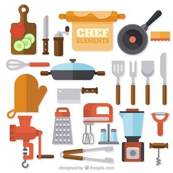 Genial surtido de artículos de cocinero planos