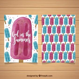 Genial tarjeta con helados rosas y azules en estilo de acuarela