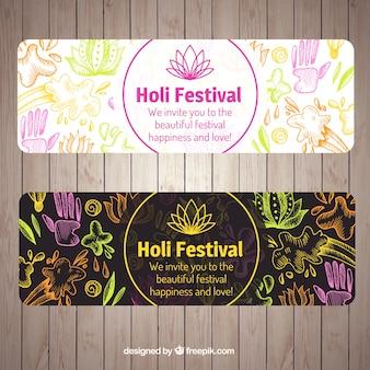 Geniales banners del festival de holi con decoración dibujada a mano