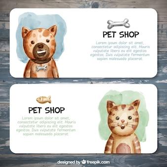 Geniales banners para una tienda de animales en estilo de acuarela