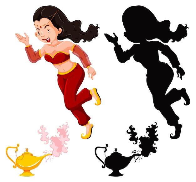Genie girl linterna mágica o lámpara de aladdin en color y silueta aislado sobre fondo blanco.