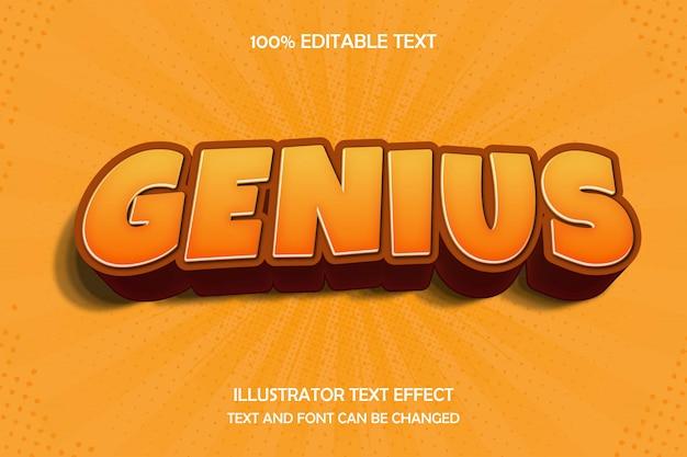 Genio, efecto de texto editable 3d estilo de cómic moderno sombra