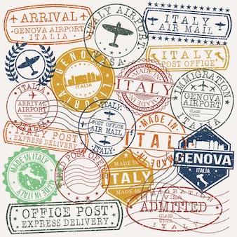 Genova italia conjunto de diseños de estampillas de viajes y negocios