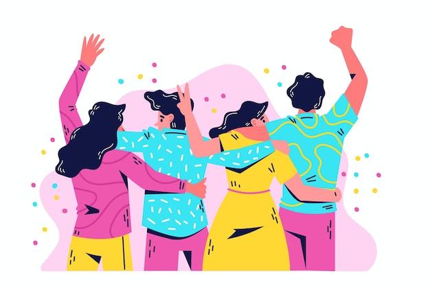 Gente abrazando juntos día de la juventud