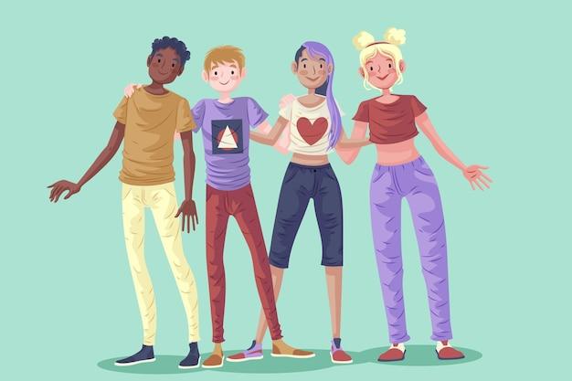Gente abrazándose en el día de la juventud
