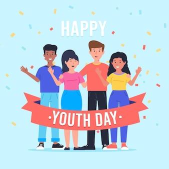 Gente abrazándose juntos en el día de la juventud en diseño plano