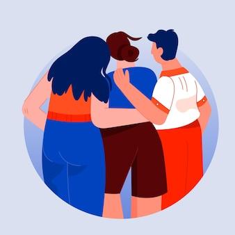 Gente abrazándose unos a otros evento del día de la juventud