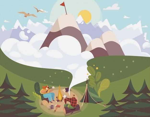 Gente acampando al aire libre, hombre y mujer planeando la ruta a la cima de la montaña, ilustración