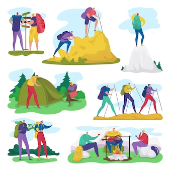 Gente acampando, caminando en el conjunto de ilustración de actividad de aventura de verano, personaje activo de dibujos animados en viaje turístico en blanco