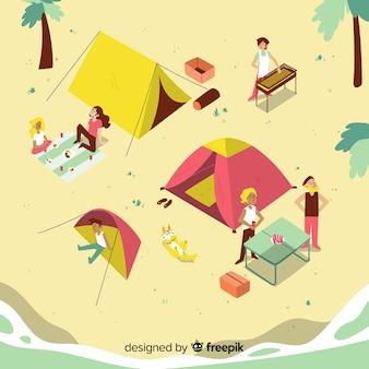 Gente acampando en un día soleado
