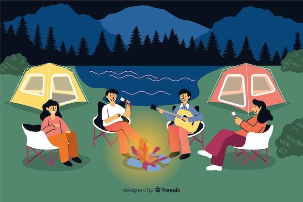 Gente acampando en la naturaleza de diseño plano.