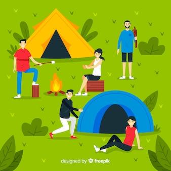 Gente acampando en la naturaleza ilustrada