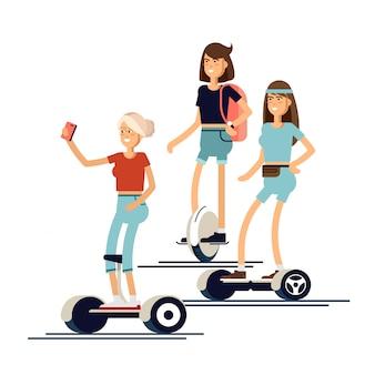 Gente activa y divertida con scooter eléctrico