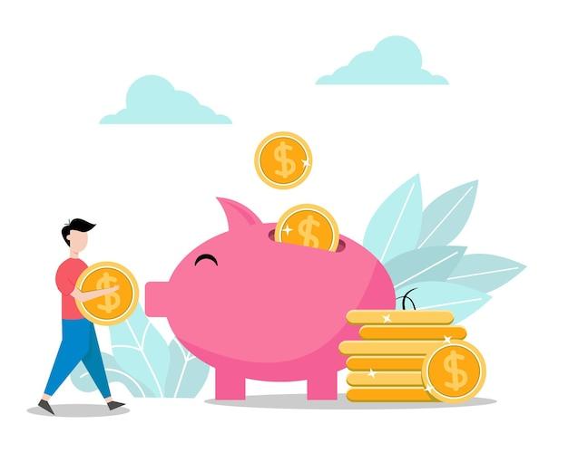 Gente ahorrando dinero en alcancía aislada ilustración plana