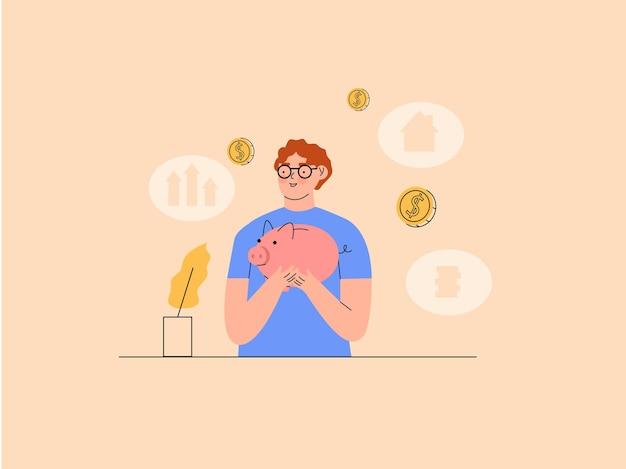 Gente ahorrando dinero en la ilustración de la hucha