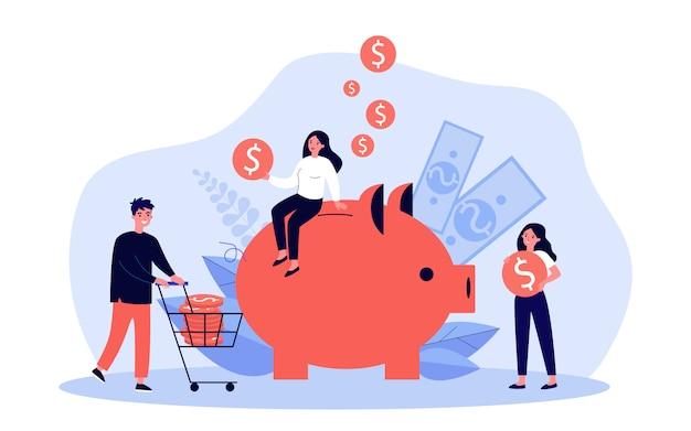 Gente ahorrando dinero