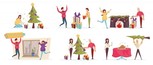 Gente alegre celebra conjunto de personajes de dibujos animados de navidad.