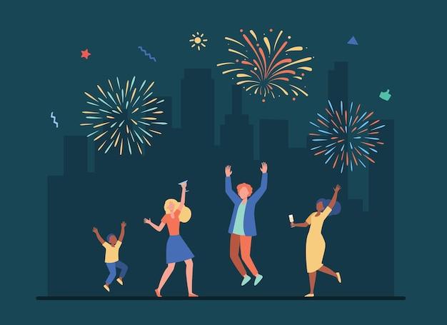 Gente alegre celebrando con colorido saludo. ilustración de dibujos animados
