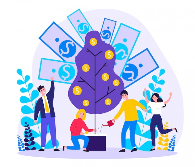 Gente alegre que invierte la ilustración de las finanzas