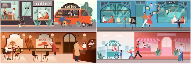 Gente almorzando en la cafetería. personajes femeninos y masculinos beben café en la cafetería. familia en heladería, interior de cafetería. conjunto de ilustración.