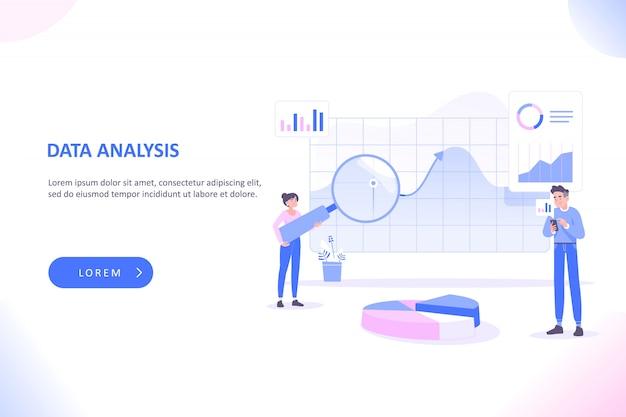 Gente analizando grandes cuadros y diagramas, análisis de datos