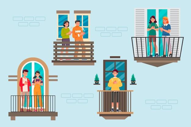 Gente aplaudiendo en balcones ilustración