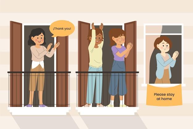 Gente aplaudiendo en balcones