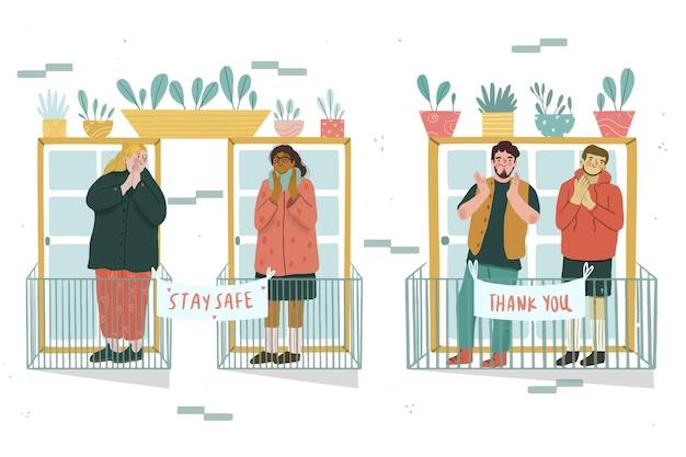 Gente aplaudiendo en concepto de balcones