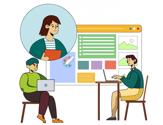 La gente asiste al curso de diseño gráfico en línea dibujos animados