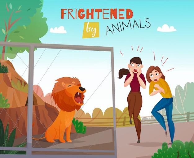 Gente asustada por animales salvajes en el zoológico público
